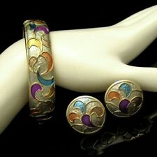 KRAMER Vintage Bangle Bracelet Earrings Statement Cloisonne Enamel Gold Plated