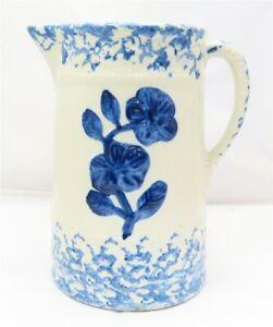 Antique Blue & White Salt Glaze Floral Decorative Stoneware Pitcher