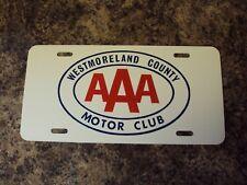 Vtg VANITY Plastic PA License Plate ~ WESTMORELAND COUNTY AAA MOTOR CLUB
