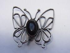 Jugendstil Brosche Schmetterling Butterfly Edelstein Silber Brosch Onyx Nr.206