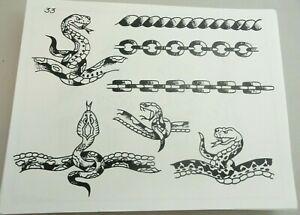Vintage Spaulding & Rogers Tattoo Flash Sheet #33 Snakes Chains