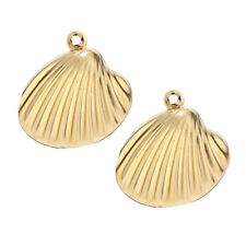 Hot 10pcs Gold Tone Shell Charms Making pendant fit DIY bracelet necklace 19mm