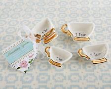 Tea Time Whimsy Ceramic Teacup Measuring Spoons Wedding Bridal Shower Favors