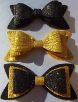 "3 X GIRLS BLACK & GOLD SPARKLY GLITTER 3"" DOUBLE HAIR BOWS ALLIGATOR CLIP"