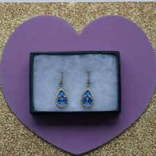 Beautiful 925 Silver Earrings  With White Topaz And Sapphire 3 Gr.3.8 Cm. Long