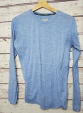 Brooks Womens Running Shirt Size Medium Long Sleeve Top Blue Yoga Athletic