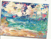 OCEAN AND SKY. Original Acrylic Landscape Knife Painting ACEO Beach small ART NR
