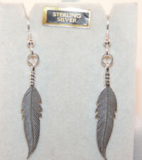 """Sterling Silver Feather Wire Earrings 1 1/2""""  (9859)"""