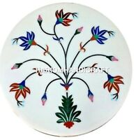 """18"""" Multi Marquetry Semi Marble Coffee Table Top Inlay New Year's Eve Decor M341"""