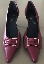 Stunning VOI E NOI Burgundy Leather Pointy Toe Kitten Heels Size 37