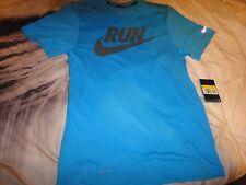 Nike Hombre Camiseta ejecutar Swoosh Dri-fit Azul Correr Deportes Top Talla S Tee
