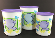 Tupperware Tiwi Bear Canisters Set of 3 ~ Purple One Touch Seals Winter New