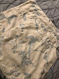 Bird Embroidered Cushion Cover X4 Duck Egg Blue Oatmeal Beige Dunelm