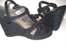 8M COLIN STUART Victoria Secret BLACK Strappy Sandal WEDGE PLATFORM Patent Suede
