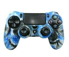 Silicone Grip Blue & Black Shell Cover Non Slip For PS4 Controller