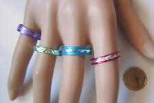 Lote 4 anillos aluminio colores nº 10 ó 19 mm diámetro medio bisutería r-52