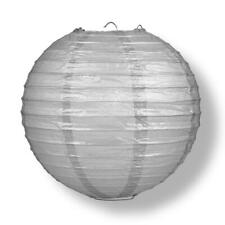 "8"" Silver Round Paper Lantern, Even Ribbing, Hanging Decoration"