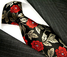 84244 LORENZO CANA - 100%  SILK NECKTIE ITALIAN TRADITION RED ROSES BLACK
