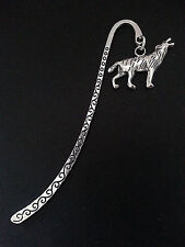 New Antique Silver Metal Bookmark with Howling Wolf Charm Accessory Gift