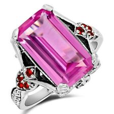 8CT Pink Sapphire & Ruby 925 Solid Sterling Silver Filigree Ring Sz 9, ZF8