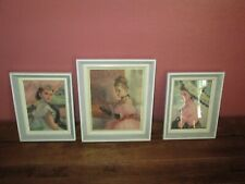 Lot 3 Vintage Pal Fried Women Framed Lithograph Pictures