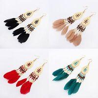 Bohemia Fashion Women Beads Feather Tassel Dangle Ear Hook Drop Earrings Jewelry