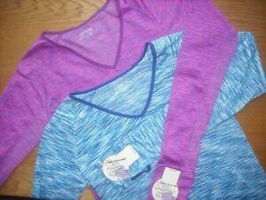 Womens/Teens NWT Base Layer Long Length/Sleeve Shirts SET of 2 Pink Strata Sz:S