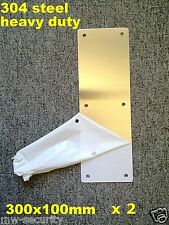 2 X 304 Stainless Steel Door Push Plate 300x100mm Screws RiteFit