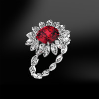 5Ct Cushion Cut Pink Ruby Diamond Floral Halo Cocktail Ring 14K White Gold Over