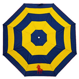 RALPH LAUREN Navy/Yellow Automatic Open/Close Logo Umbrella Brolly Gift