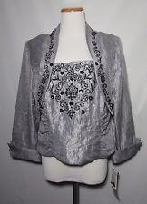 NWT J. R. Nites Carol Lin Sz 16 Shimmer Bolero Bustier Grey Evening Top Jacket