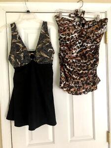 Women's Swimdress Lot of 2 Size 12 Large V-neck Strapless Black Brown New
