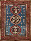 Vintage Geometric Tribal Caucasian Russian Area Rug Hand-knotted Wool 5x6 Carpet