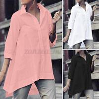 ZANZEA Women Collared Button Down Shirt Tops Irregular Plain Blouse Pullover Tee