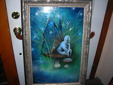 STUNNING UNUSUAL VINTAGE/ANTIQUE FAIRY OIL PAINTING ON BOARD 30X25 MUST C THIS!