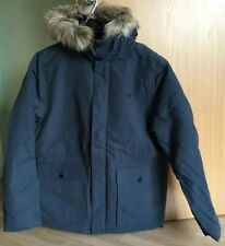 Fred Perry Men's Jacket Hooded Fur Trim Quilted Parka Blue Large