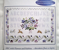 """DMC """"ABC with Flowers and Rabbits"""" Counted Cross Stitch Kit"""