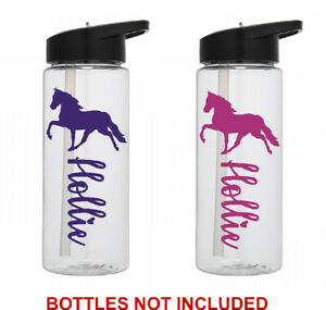Horse personalised name sticker for school drinks water bottle