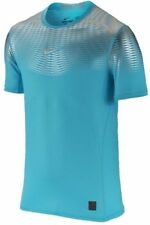 Nike Pro Combat Hypercool Max Fitted Men's Shirt NEW Blue Sliver 744281 418 sz L