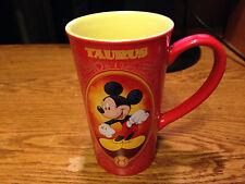 DISNEY STORE MICKEY MOUSE COFFEE MUG TAURUS APRIL 20 MAY 20 TALL RED / REAL PICS