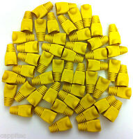 PACK OF 50 YELLOW RJ45 SNAGLESS NETWORK CABLE PLUG HOODS BOOTS CAT5e CAT6