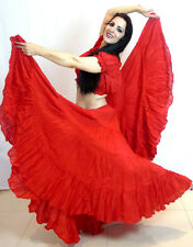 Red 25 yard yards belly dancing cotton skirt & Top 2pc Set Tribal Gypsy ATS
