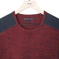 John Varvatos Star USA Mens Sweater Wine Black Cotton Blend Long Sleeve Size L