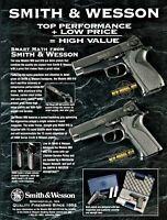 1995 SMITH & WESSON 909 and 910 Pistol Catalog Insert AD on very heavy stock