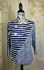 Peck & Peck womens stretch knit top mix print 3/4 sleeves size Large bb04