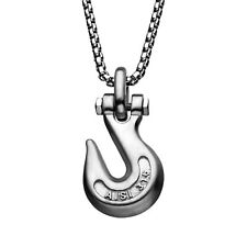 """INOX 316L Matte Stainless Steel Clevis Grab Hook Pendant Necklace 24"""""""