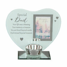 """Thoughts of You"" Glass Photo Frame Memorial Tea Light Candle Holder - Choose"