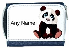 Personalised Girl/Lady Denim Purse With Cute PANDA