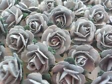 100 Cute Handmade Mulberry Paper Roses - 10mm - Silver Grey Rose Embellishment
