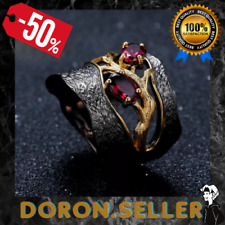 Natural Rhodolite Garnet Solid 925 Sterling Handmade Branch Women Ring